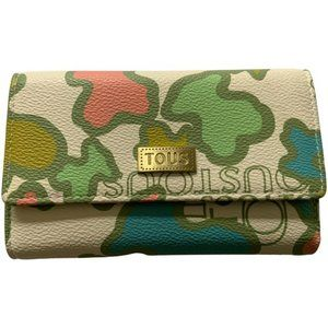 TOUS leather tri-fold wallet camo logo print